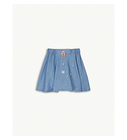BILLIE BLUSH Embellished denim skirt 4-12 years (Denim+blue