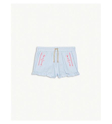 BILLIE BLUSH Striped cotton-blend poplin frilled shorts 4-12 years (Blue+white