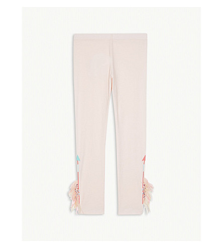 BILLIE BLUSH Fringed stretch cotton leggings 4-12 years (Baby+pink