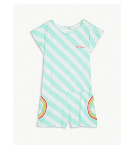 BILLIE BLUSH Rainbow print pockets brand logo cotton playsuit 4-12 years (Green+white