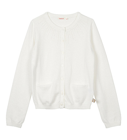 BILLIE BLUSH Glitter cotton cardigan 4-12 years (White