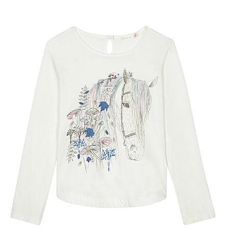BILLIE BLUSH Horse print long-sleeved cotton t-shirt 4-12 years (White