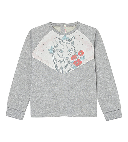 BILLIE BLUSH Cat cotton sweatshirt 4-12 years (Grey