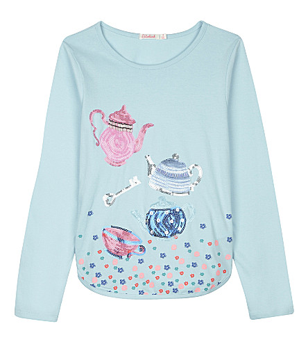 BILLIE BLUSH Sequinned teapot design cotton long-sleeved top 4-12 years (Blue