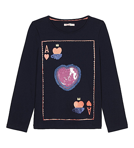 BILLIE BLUSH Ace of hearts long-sleeved cotton top 4-12 years (Navy