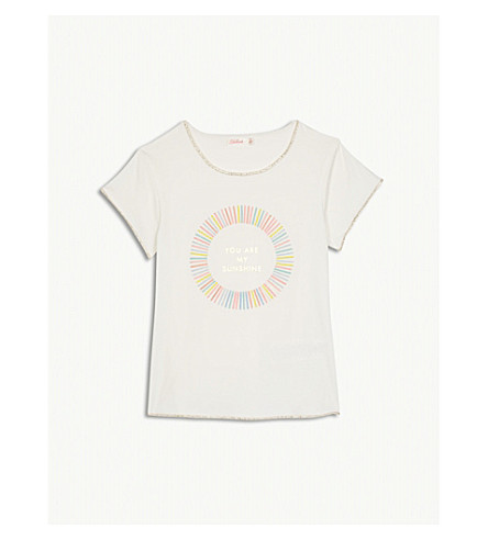 BILLIE BLUSH 'You Are My Sunshine' print cotton-blend T-shirt 4-12 years (Ivory