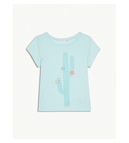 BILLIE BLUSH Pompom cactus cotton T-shirt 4-12 years (Turquoise