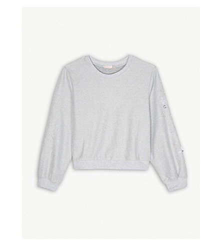 BILLIE BLUSH Metallic cotton-blend jumper 4-12 years (Silver