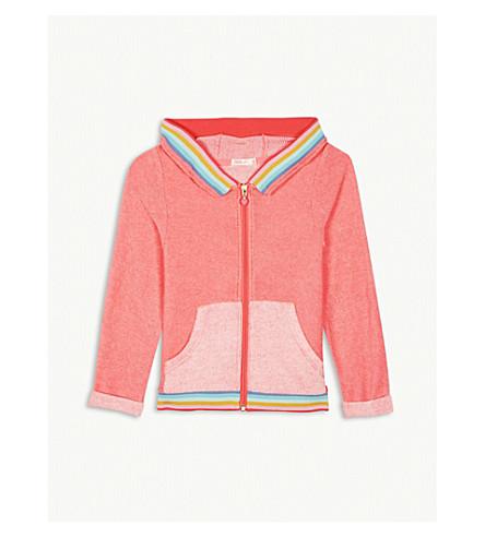 BILLIE BLUSH Rainbow trim zip-through cotton-blend hoody 4-12 years (Fuschia