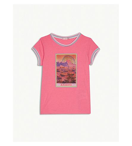 BILLIE BLUSH Arizona print sequinned cotton-blend T-shirt 4-12 years (Pink