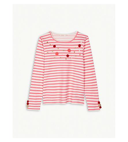 BILLIE BLUSH Long-sleeved cotton T-shirt with pom-pom detail 4-12 years (Fuschia