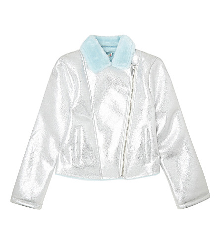 BILLIE BLUSH Metallic biker jacket 4-12 years (Silver