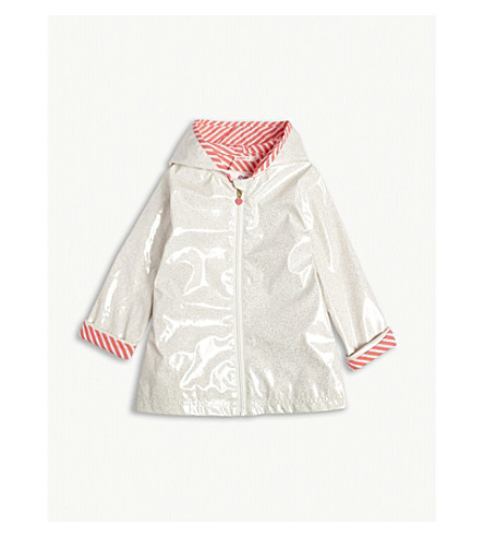 BILLIE BLUSH Glitter hooded raincoat 4-14 years (Ivory