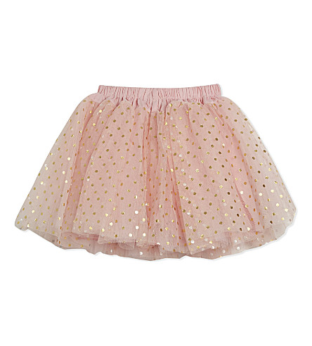 BOB & BLOSSOM Spotty net party skirt 0-8 years (Pale+pink+gold+spots