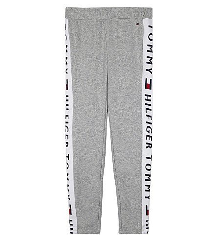TOMMY HILFIGER Logo print fleece tracksuit bottoms 6-16 years (Grey+heather