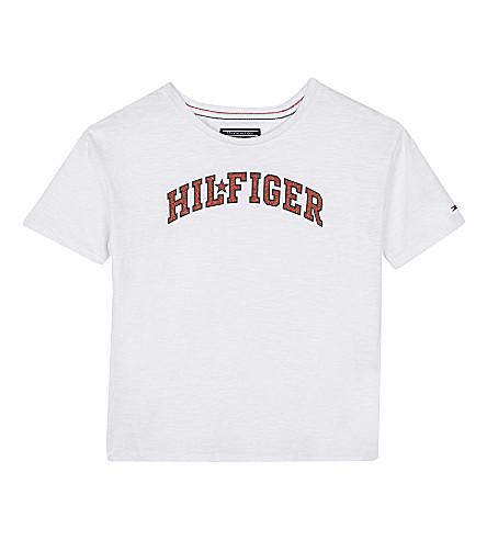 TOMMY HILFIGER Glitter logo print T-shirt 6-16 years (Bright+white