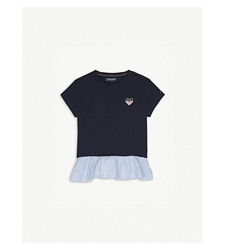 TOMMY HILFIGER Striped peplum cotton t-shirt 4-16 years (Navy