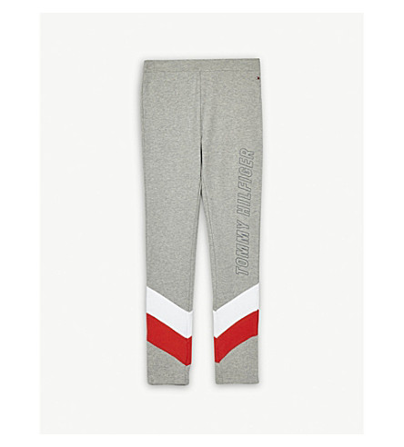TOMMY HILFIGER Striped cotton tracksuit bottoms 4-16 years (Grey