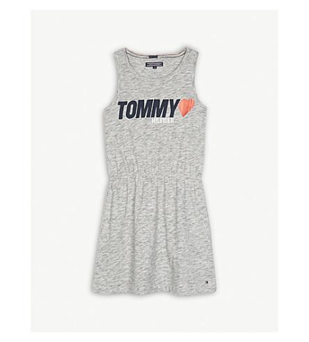 TOMMY HILFIGER Sleeveless logo cotton dress 4-16 years (Grey