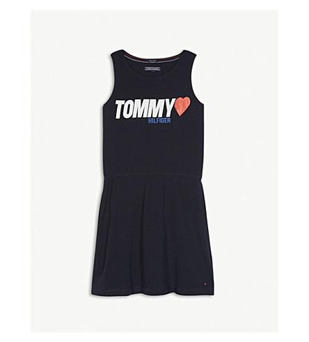 TOMMY HILFIGER Sleeveless logo cotton dress 4-16 years (Navy