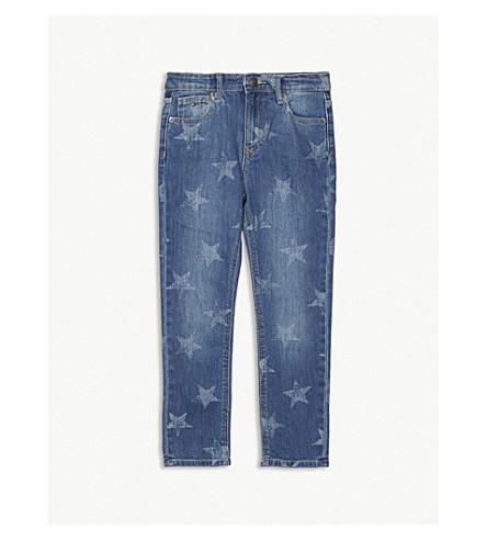 TOMMY HILFIGER 褪色的星印花牛仔牛仔裤 6-16 岁 (中 + 洗