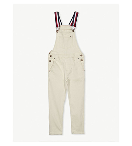 TOMMY HILFIGER Signature strap denim dungarees 4-16 years (White