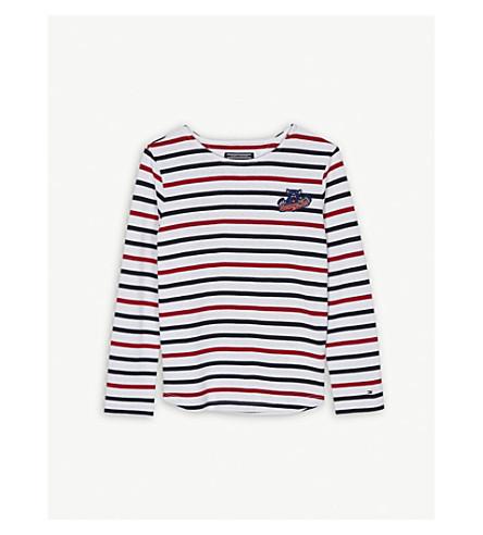 TOMMY HILFIGER 条纹长袖棉 T 恤 4-16 岁 (白色