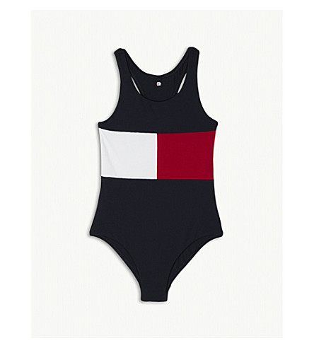 TOMMY HILFIGER Flag racerback swimsuit 4-16 years (Navy