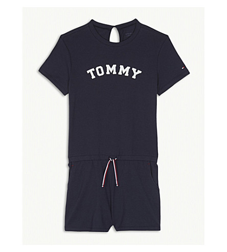TOMMY HILFIGER Logo print cotton-blend playsuit 4-16 years (Navy