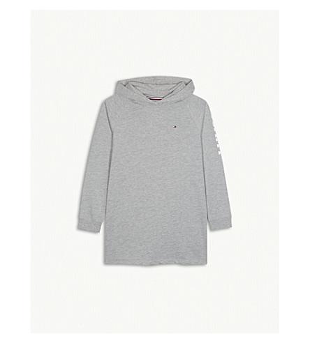 TOMMY HILFIGER Logo cotton-blend hooded jumper dress 4-16 years (Grey