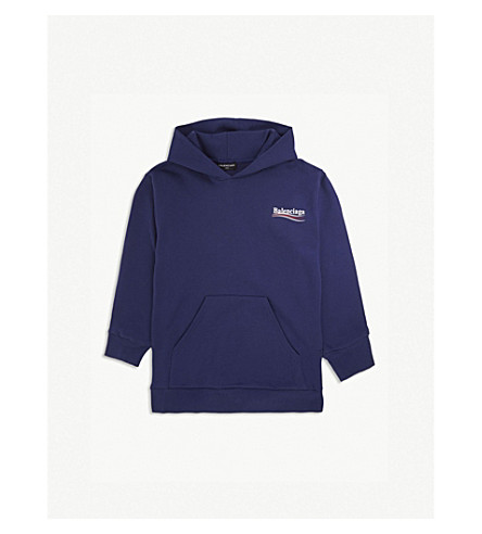 BALENCIAGA Molleton logo cotton-blend hoody 2-10 years (Blue