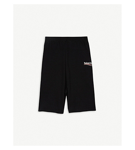 BALENCIAGA Molleton logo print cotton-blend shorts 2-10 years (Black