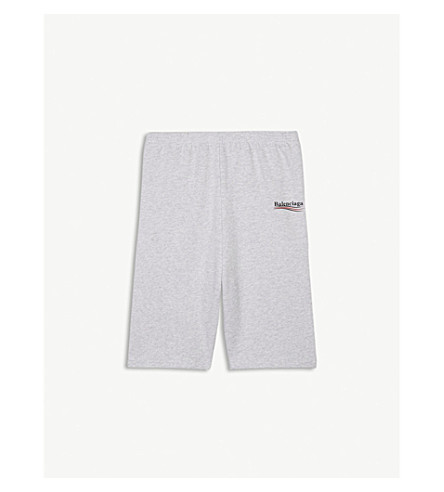 BALENCIAGA Molleton logo print cotton-blend shorts 2-10 years (Light grey