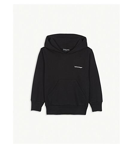 BALENCIAGA Molleton logo cotton-blend hoody 2-10 years (Black