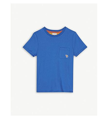 PAUL SMITH JUNIOR Embroidered zebra logo pocket cotton T-shirt 4-16 years (Olympian+blue
