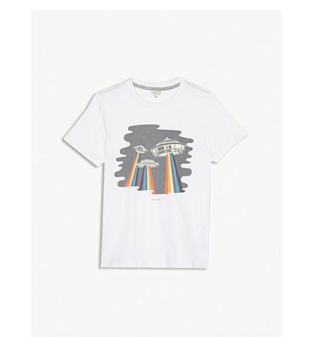 PAUL SMITH JUNIOR Spaceship print cotton t-shirt 4-16 years (White
