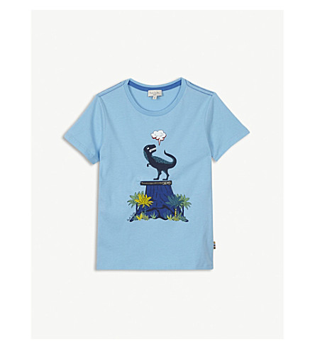PAUL SMITH JUNIOR Rimini 3D dinosaur cotton T-shirt (Light+blue