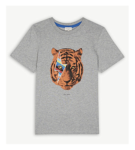 PAUL SMITH JUNIOR Rambo-Bowie tiger cotton T-shirt 4-16 years (Marl+grey
