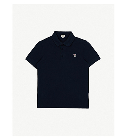 PAUL SMITH JUNIOR Ridley zebra cotton polo shirt 4-16 years (Navy