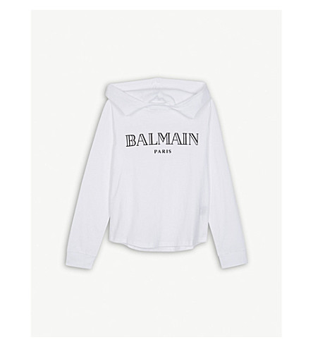 BALMAIN Velvet logo hooded cotton top 6-14 years (White