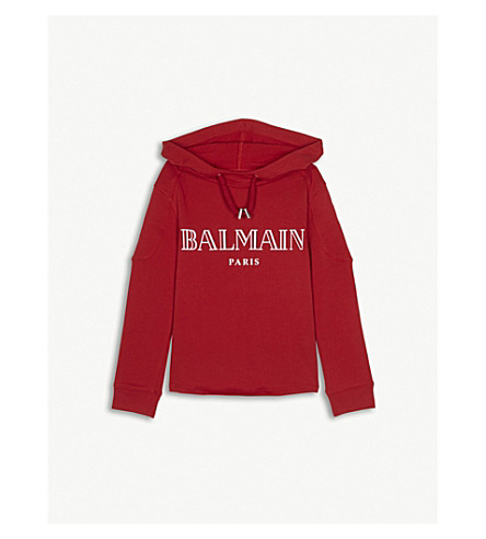 BALMAIN Logo cotton hoody 6-14 years (Red
