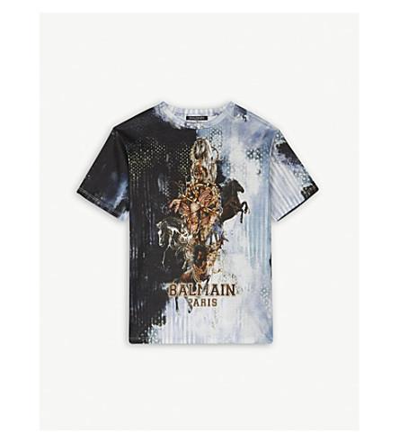 BALMAIN Horse print logo cotton t-shirt 6-14 years (Blue