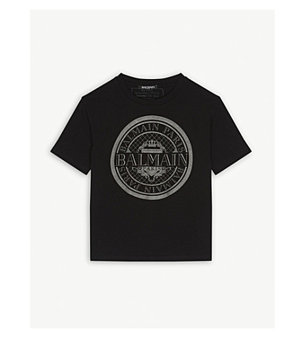 BALMAIN Glitter logo cotton t-shirt 6-14 years (Black