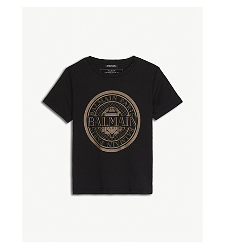 BALMAIN Logo cotton t-shirt 6-14 years (Black