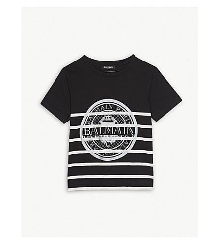 BALMAIN Striped medallion print cotton T-shirt 6-14 years (Blackwhite