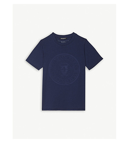 BALMAIN Embossed logo cotton T-shirt 6-14 years (Navy
