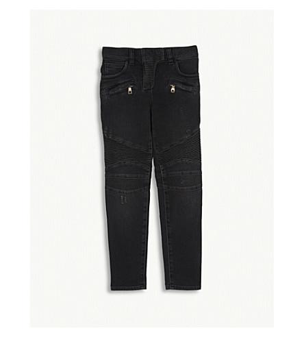 BALMAIN Slim fit denim biker jeans 8-14 years (Black