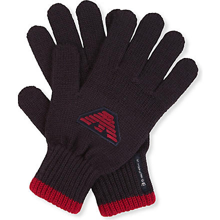 ARMANI JUNIOR Logo-detailed gloves (Navy
