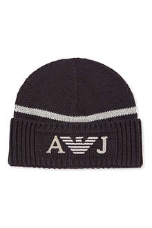 ARMANI JUNIOR Logo beanie hat S-XL
