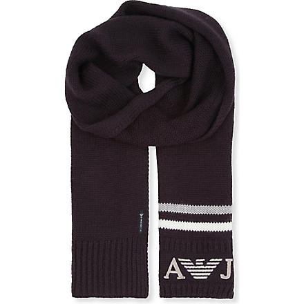 ARMANI JUNIOR Logo-detailed scarf (Navy